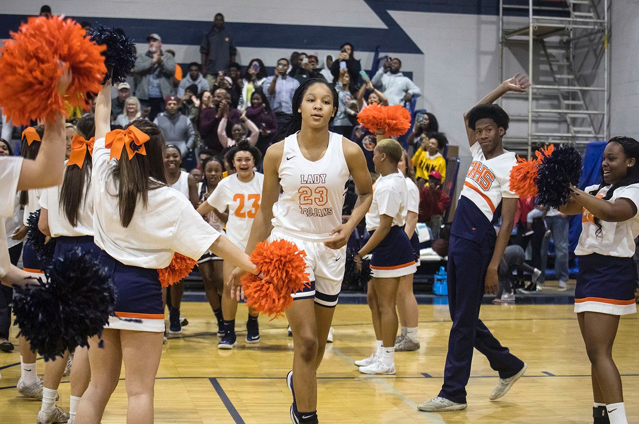 Senior Maori Davenport was greeted by a gym full of cheers when she took the court Friday at Charles Henderson High School.