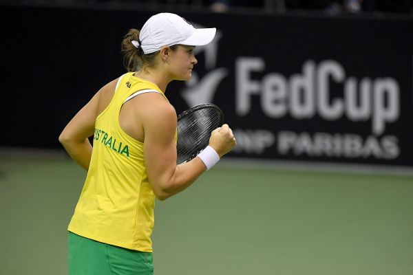 Ashleigh Barty defeated Madison Keys 6-4, 6-1, then later won the clinching doubles match for Australia.
