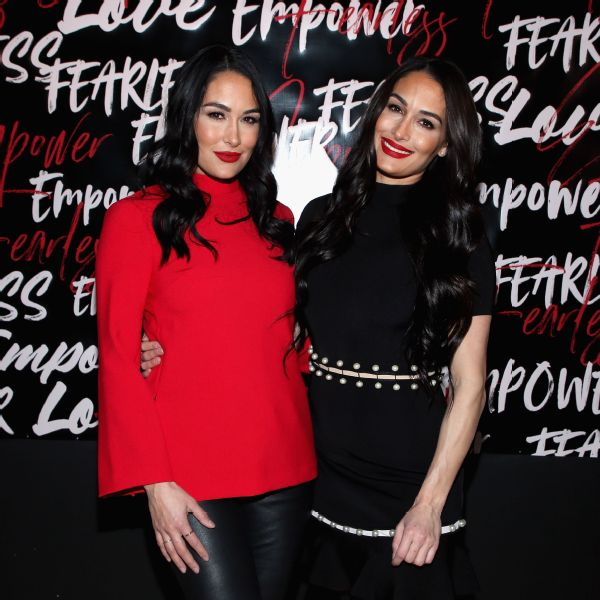 Nikki and Brie Bella at the launch of their Nicole Brizee beauty line on Jan. 27 in Park City, Utah.