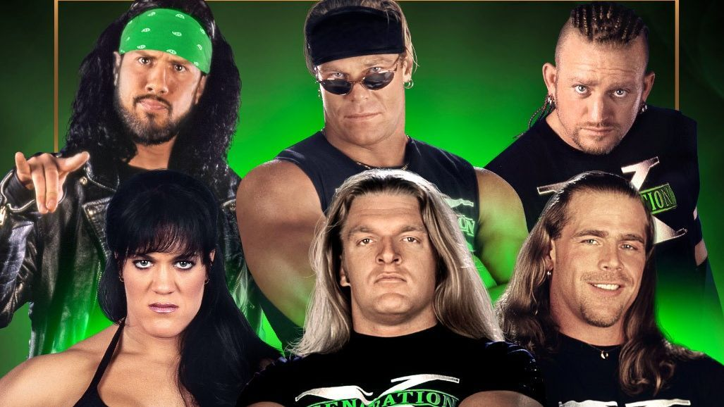 Six members of D-Generation X (clockwise from top left) will be inducted into the WWE Hall of Fame Class of 2019: X-Pac, Billy Gunn, Road Dogg, Shawn Michaels, Triple H and Chyna.