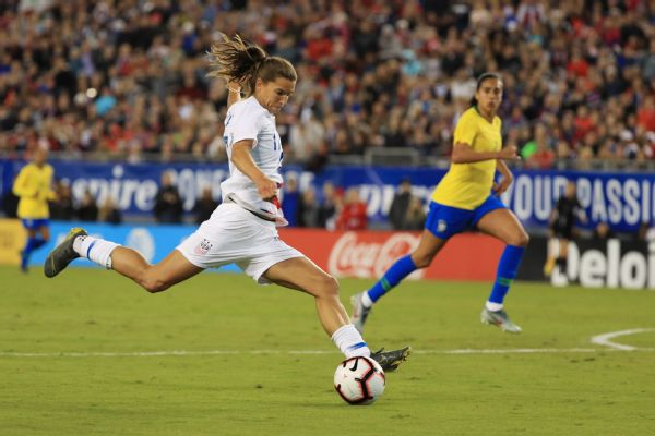 Tobin Heath's first-half goal lifted the United States to a 1-0 win over Brazil Tuesday night in the SheBelieves Cup.