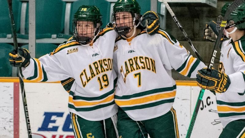 Clarkson's Elizabeth Giguere, right, and Loren Gabel rank first and second in the country with 73 and 69 points, respectively.