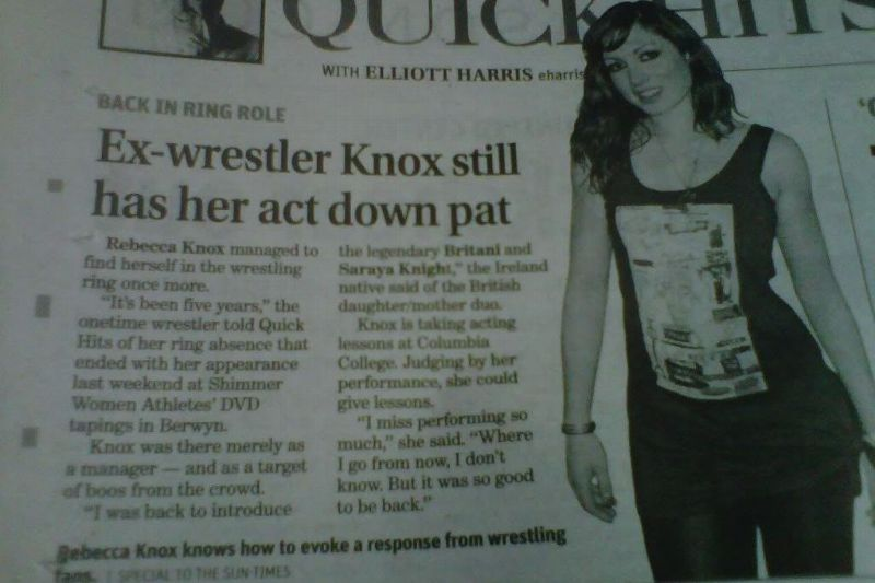 Image of 2011 Chicago Sun Times story on Rebecca Knox a.k.a. Becky Lynch