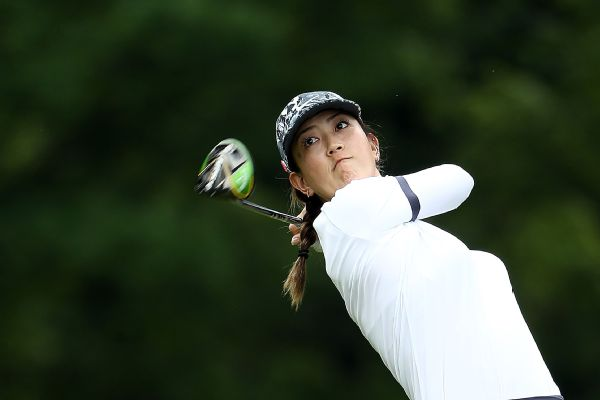 Michelle Wie watches her tee shot on the 15th hole during Thursday's first-round of the KPMG Women's PGA Championship at Hazeltine National Golf Course.