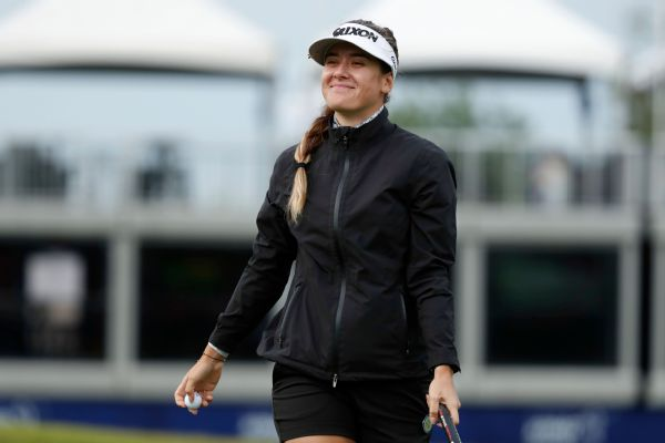 Hannah Green smiles after making a putt on the ninth hole during the first round of the KPMG Women's PGA Championship on Thursday. She holds the lead heading into Friday's second round.