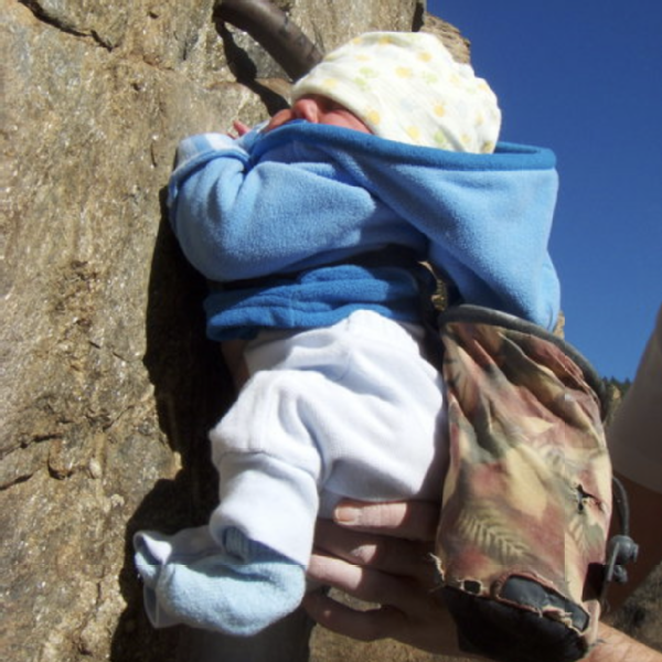 Selah was just two months old when her parents, Mike and Joy, took her out to El Capitan for the first time. Here she is, in her first rock-climbing photo, taken as a joke at 3 days old.