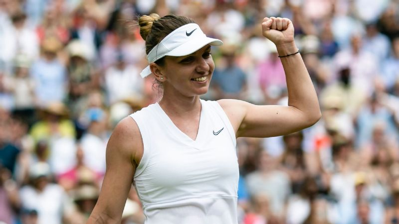 Simona Halep cheers after winning Wimbledon semifinal