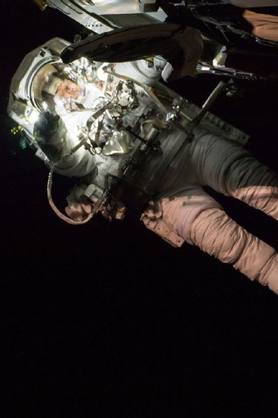 Whitson working outside the International Space Station during Expedition 50.