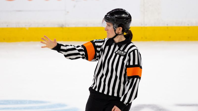 Katie Guay made history as the first woman to officiate a men's Beanpot hockey game, doing so for the semifinal matchup between Boston College and Harvard.