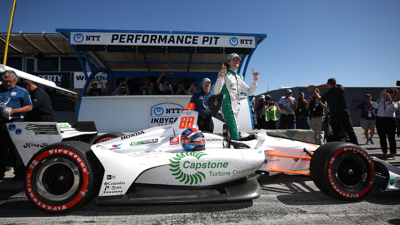 Colton Herta upstaged the four IndyCar title contenders by winning the pole for Sunday's season finale at Laguna Seca Raceway. Herta's father, Bryan, is a two-time race winner, and three-time pole winner, at the track.