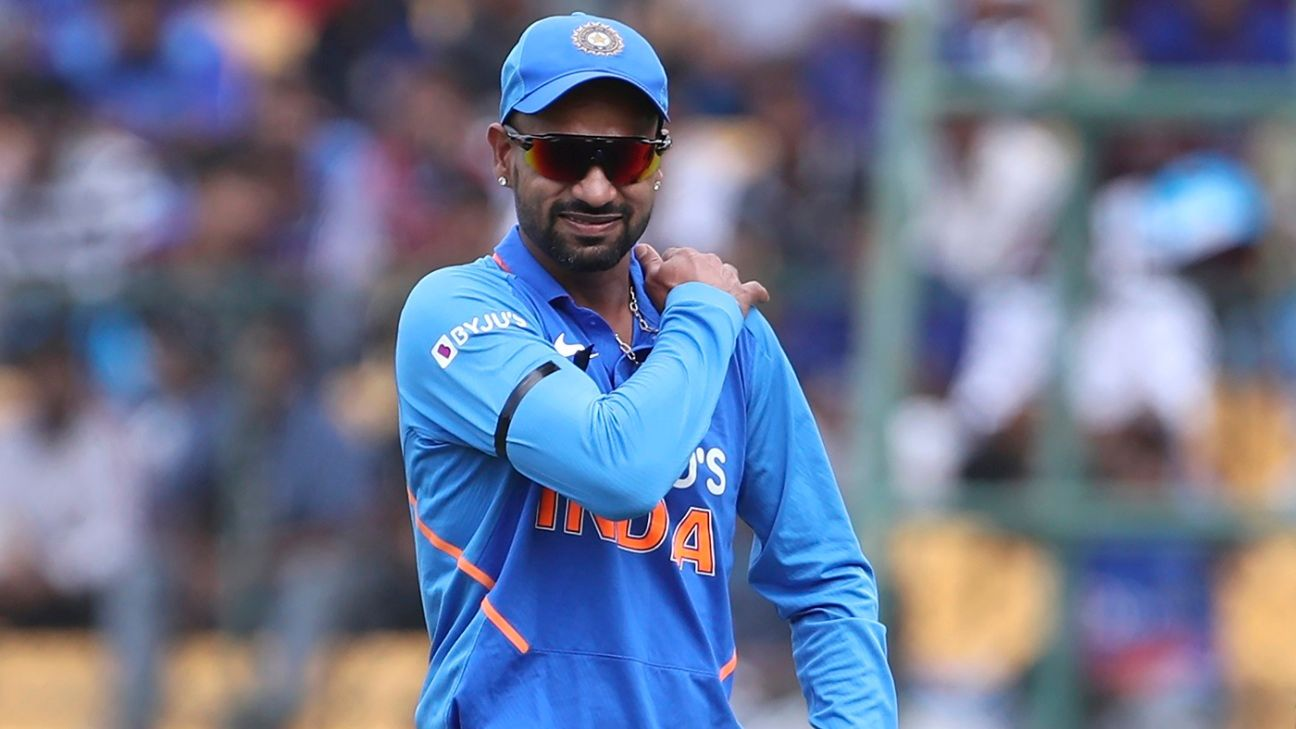 Shikhar Dhawan picks up shoulder injury, doesn't open for India