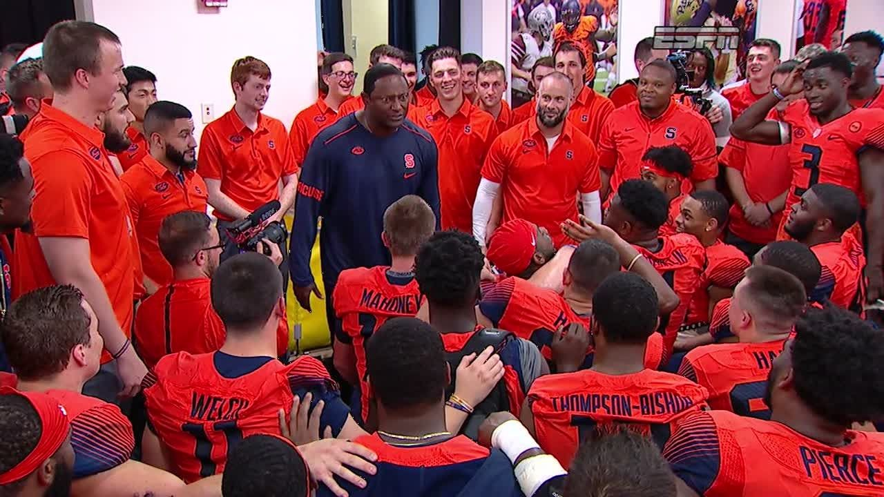 Syracuse Coach Delivers Powerful Locker Room Speech Espn Video
