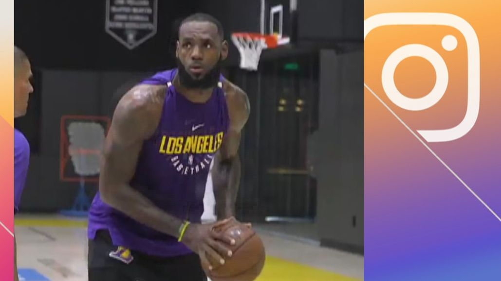 sports shoes 7da8e 89392 LeBron gets in his first workout as a Laker - ESPN Video
