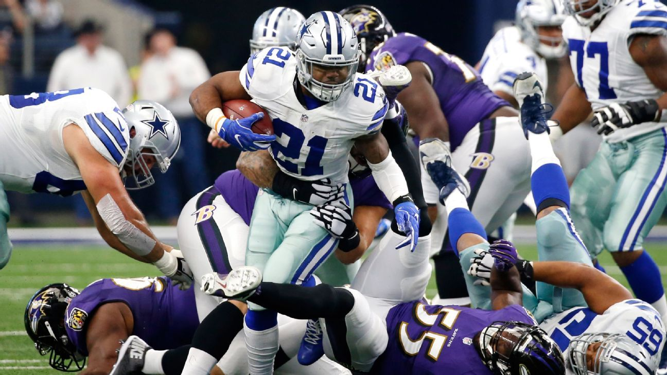 4a36251a1ea Ezekiel Elliott sets rookie record for rushing yards for Dallas Cowboys