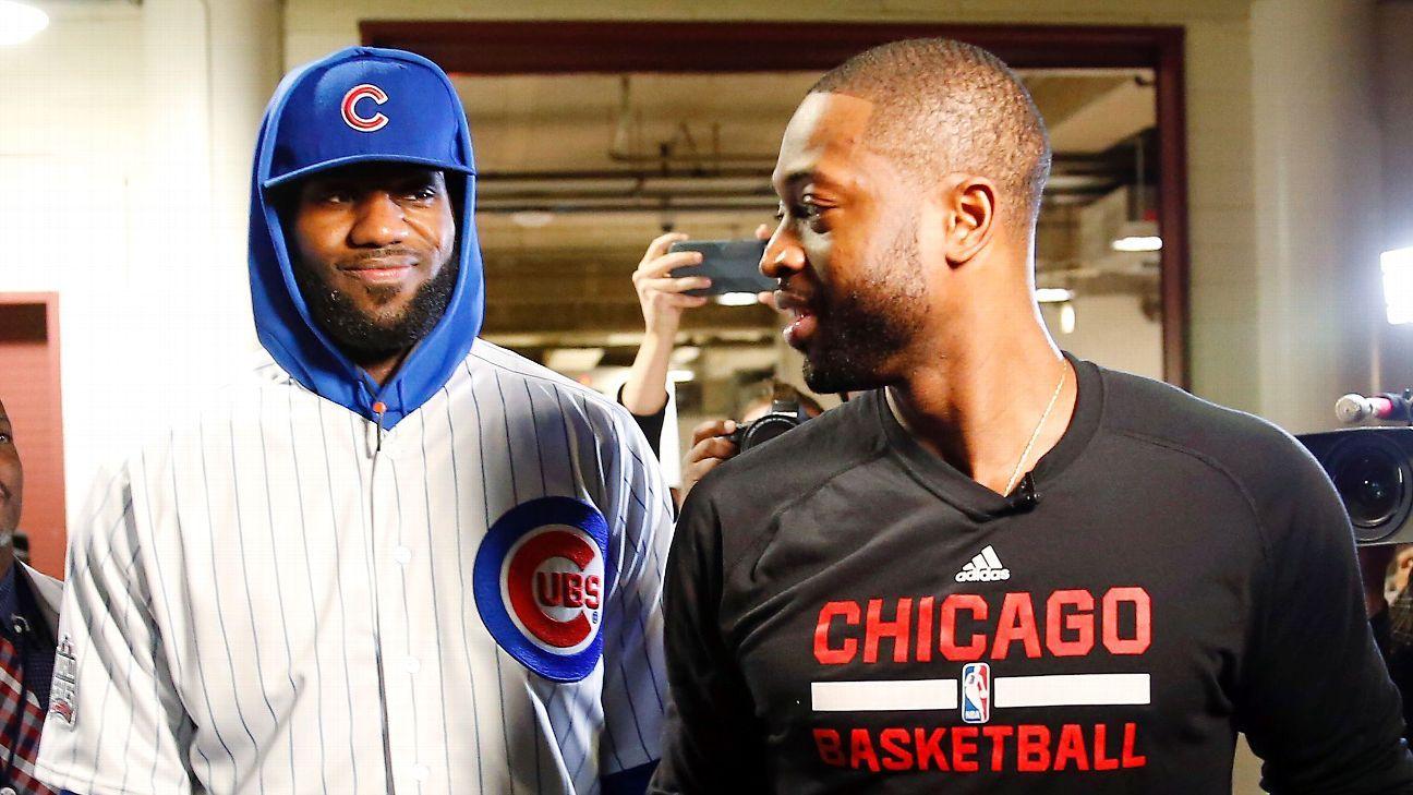 cheap for discount 021c5 f252c Cleveland Cavaliers' LeBron James wears Chicago Cubs uniform ...