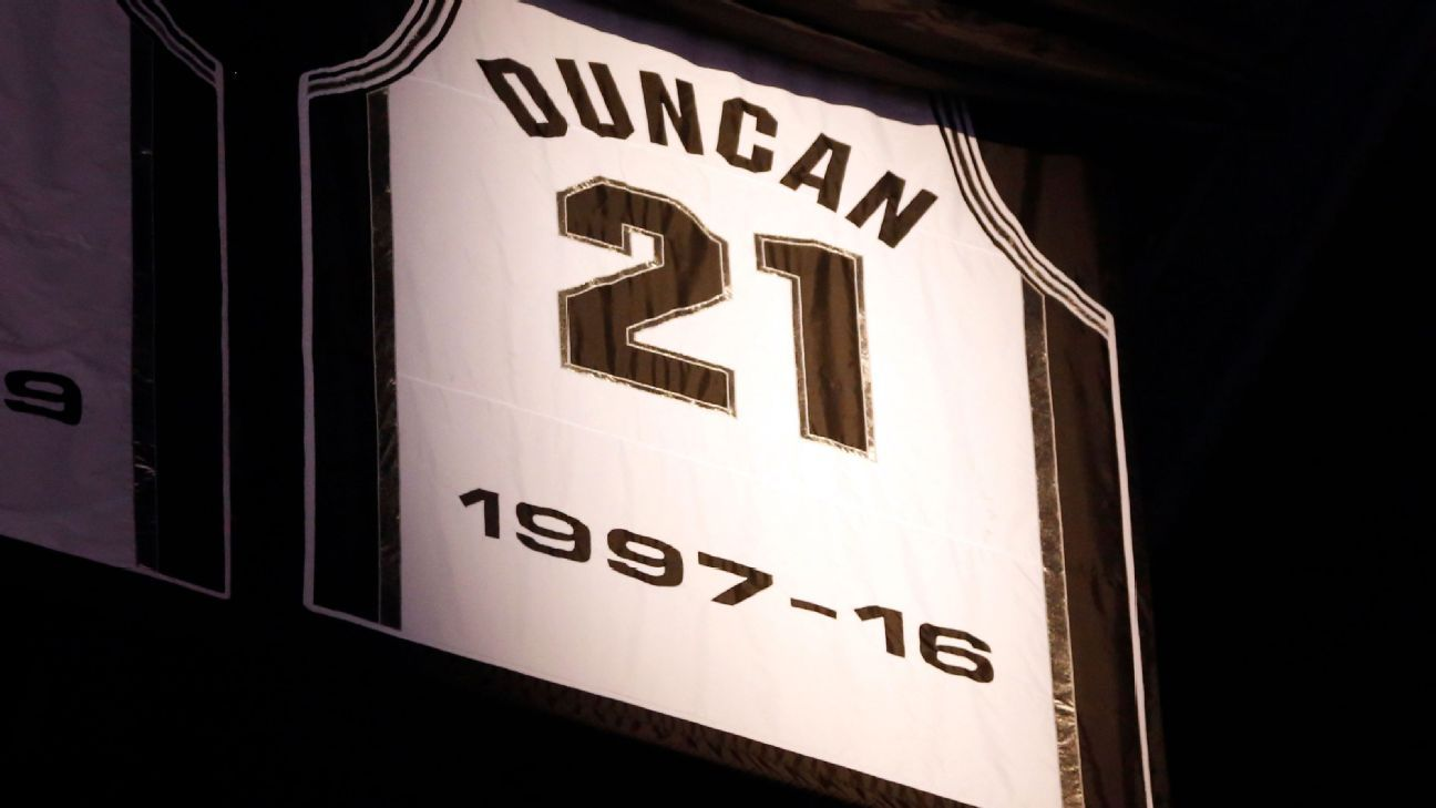 quality design f14a4 e2a5f San Antonio Spurs retire Tim Duncan's No. 21 jersey