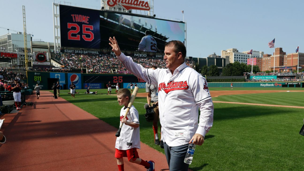 new arrival 5c7a4 cb1f3 Jim Thome has No. 25 retired by Cleveland Indians