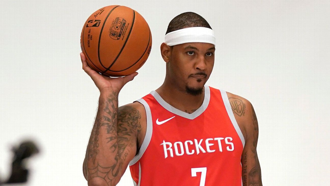 the best attitude 81aaa 1cd3a Carmelo Anthony can't rule out bench role with Houston Rockets