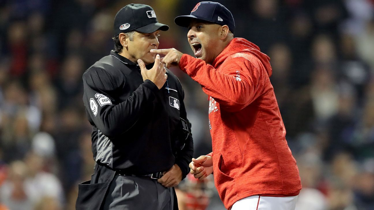 02e3b93d30a Boston Red Sox manager Alex Cora ejected from ALCS Game 1 for arguing with  plate umpire