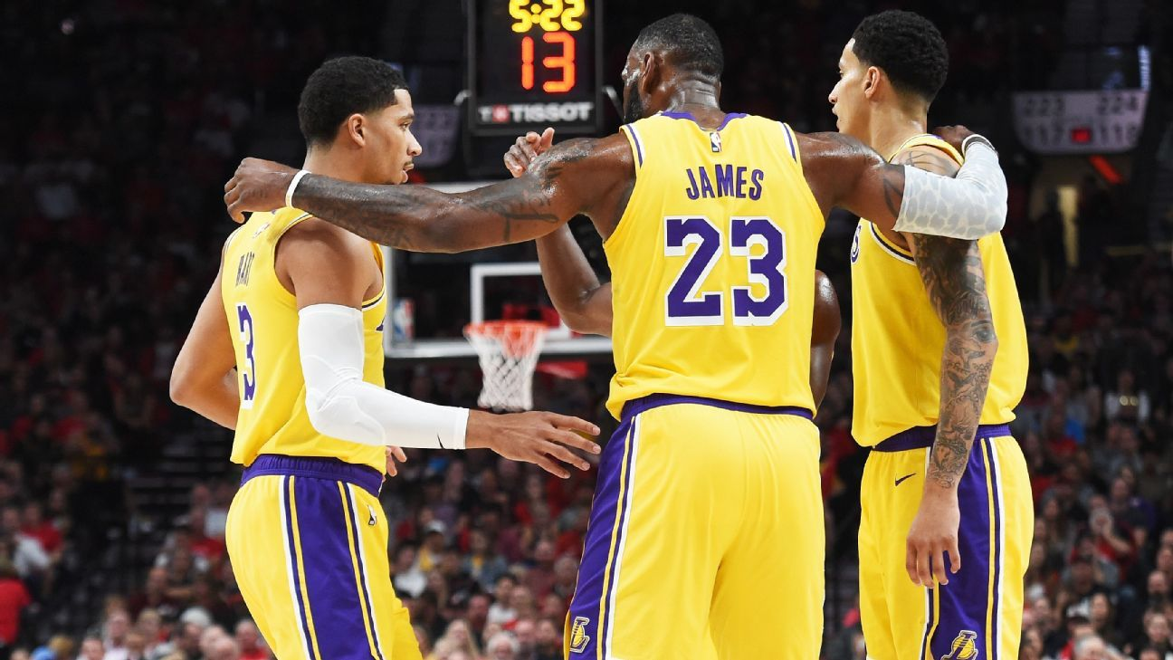 Image result for lebron with lakers teammates