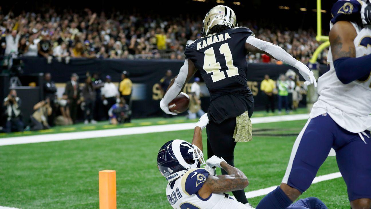 d1d7d75ef30f7 New Orleans Saints vence Los Angeles Rams e derruba último invicto da NFL   Chargers e Texans também vencem
