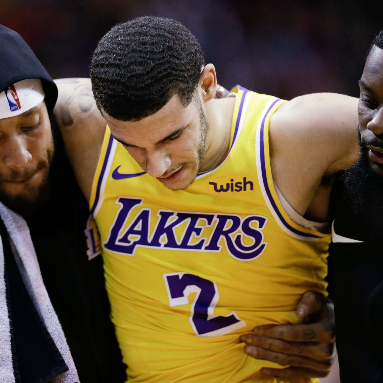 Lonzo Ball, Los Angeles Lakers point guard, sprained ankle