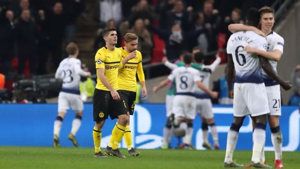 23caaa458ee Dortmund made to pay for inexperience by ruthless Tottenham at ...