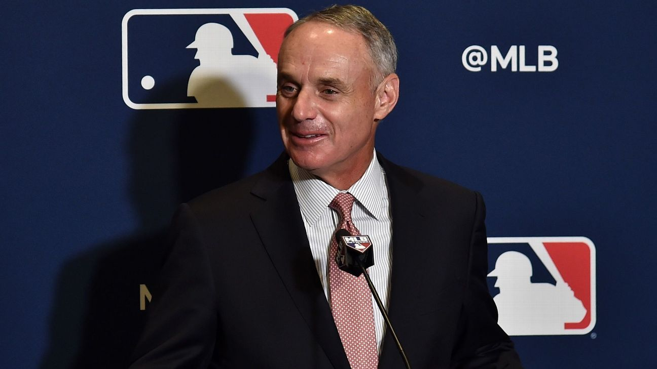 Hours after Manny Machado agreed to a $300 million, 10-year deal with San Diego, MLB commissioner Rob Manfred said the slow free-agent market is