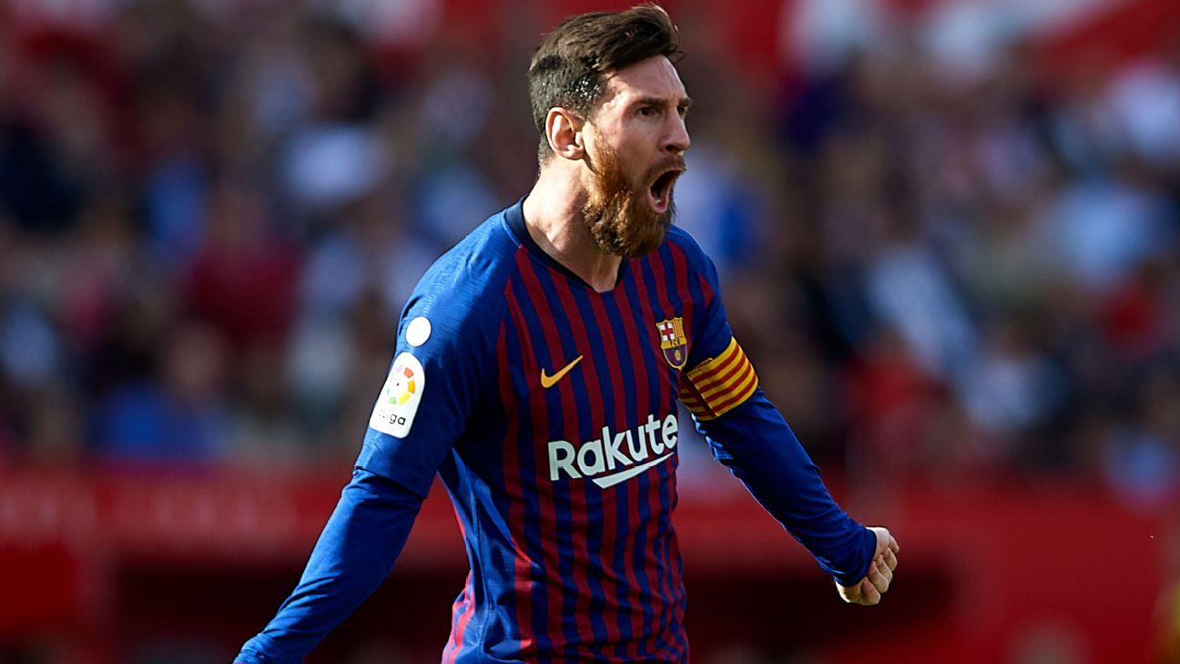 Image result for Lionel Messi scores 50th career hat trick as Barcelona win at Sevilla
