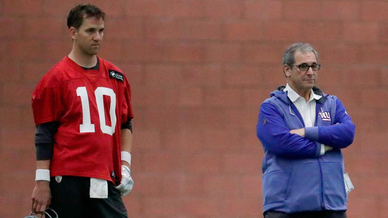 Giants GM Dave Gettleman doesn't feel pressured to find a successor for QB Eli Manning with either of his two first-round picks in the draft.