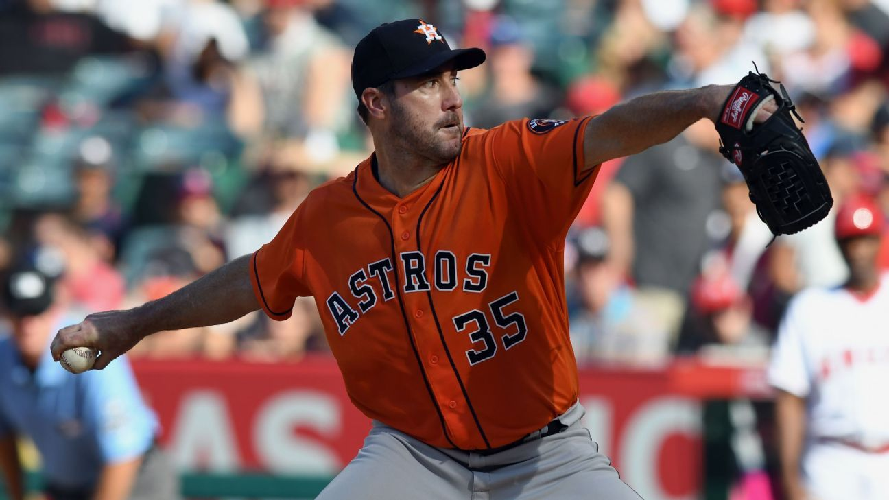 Astros pitcher Justin Verlander is due to be a free agent after the 2019 season.