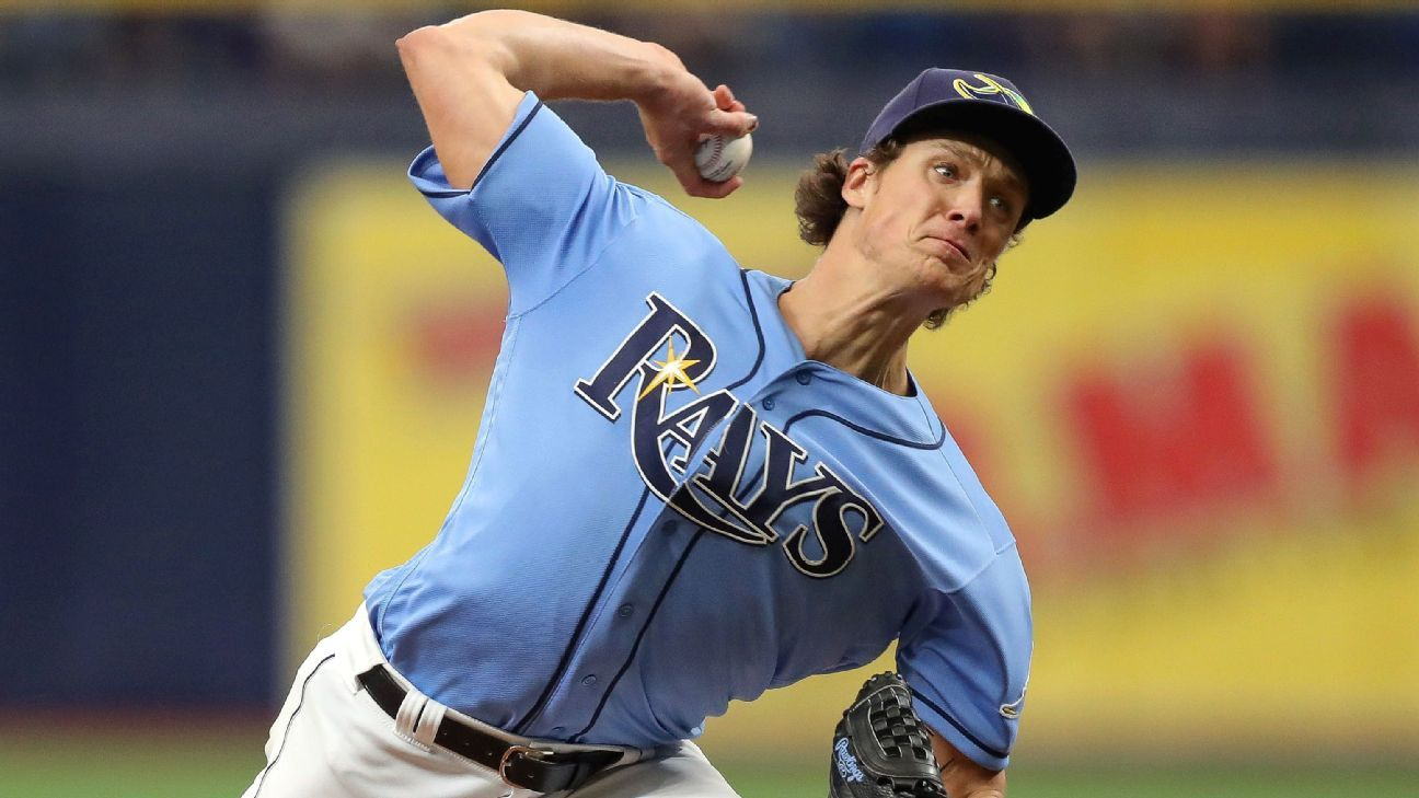 Rays' Glasnow (forearm) shut down for 3 weeks
