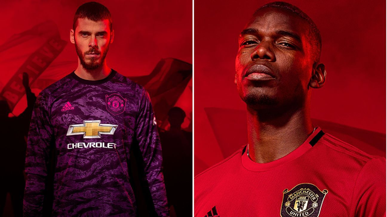 reputable site 72bff 4e9d7 Manchester United's 2019-20 kit: Pogba, De Gea model 1999 ...