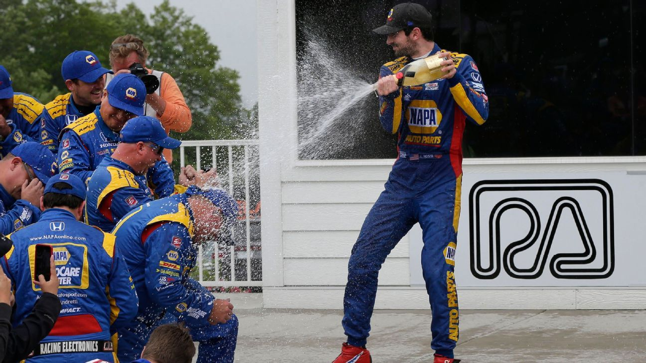 Rossi wins at Road America, led 54 of 55 laps