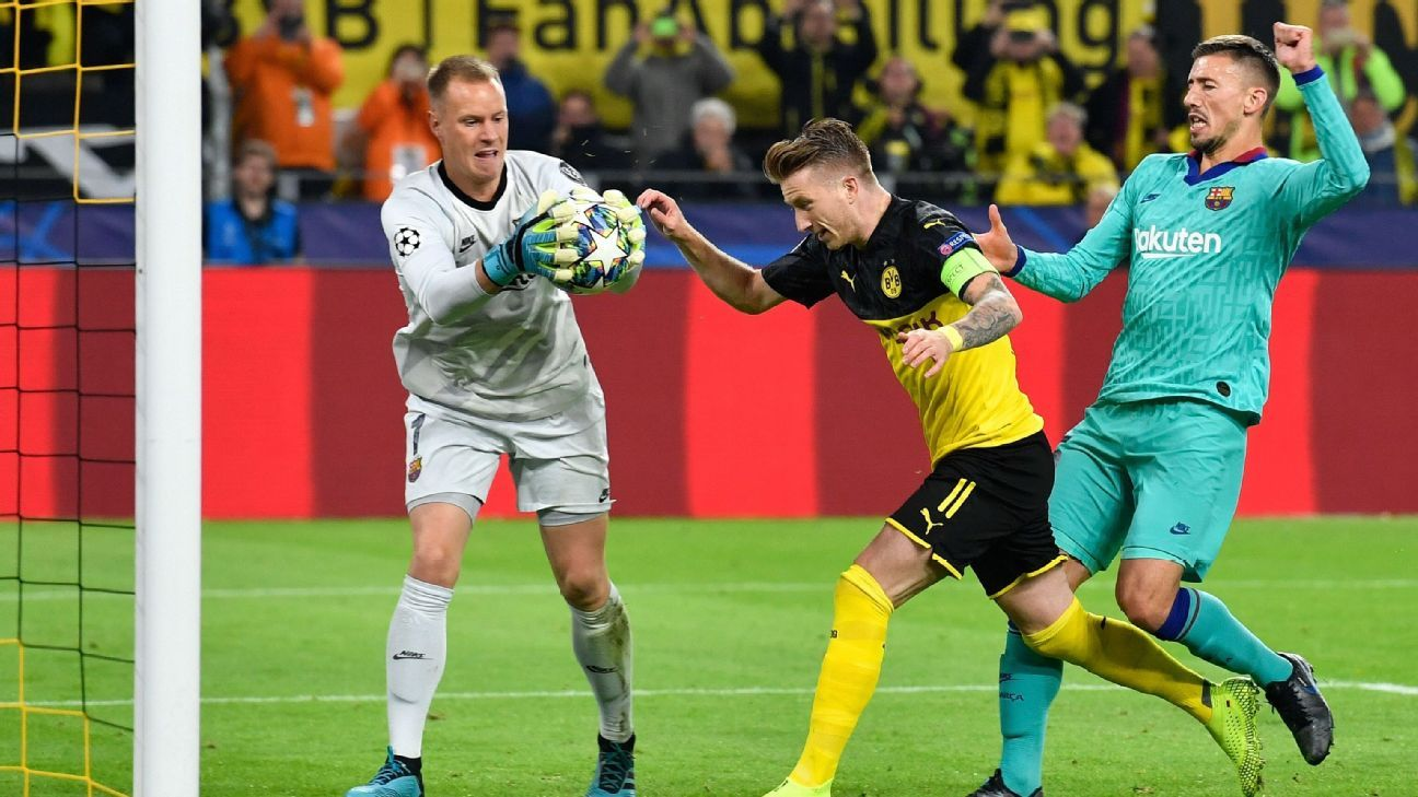 Ter Stegen superb as Barcelona hang on for a draw at dominant Dortmund