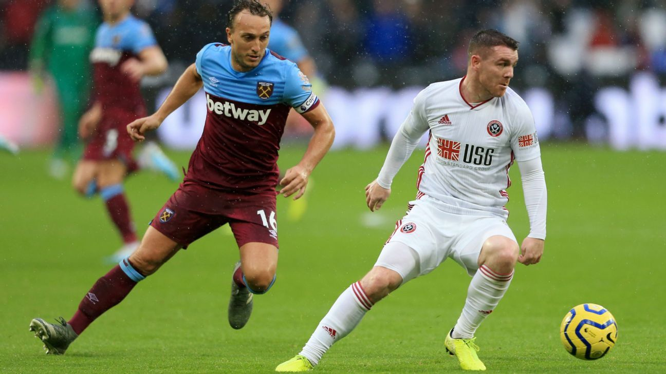 Sheffield United go seventh after draw at West Ham