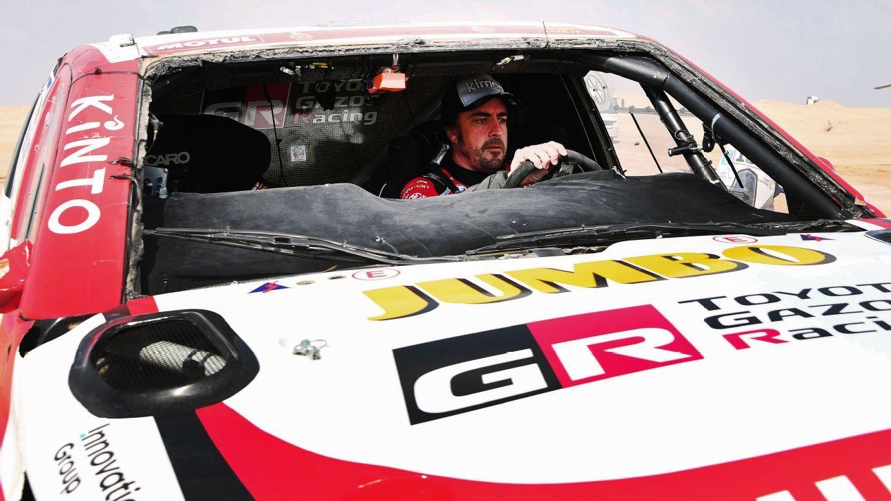Fernando Alonso rolls his Toyota in Dakar Rally
