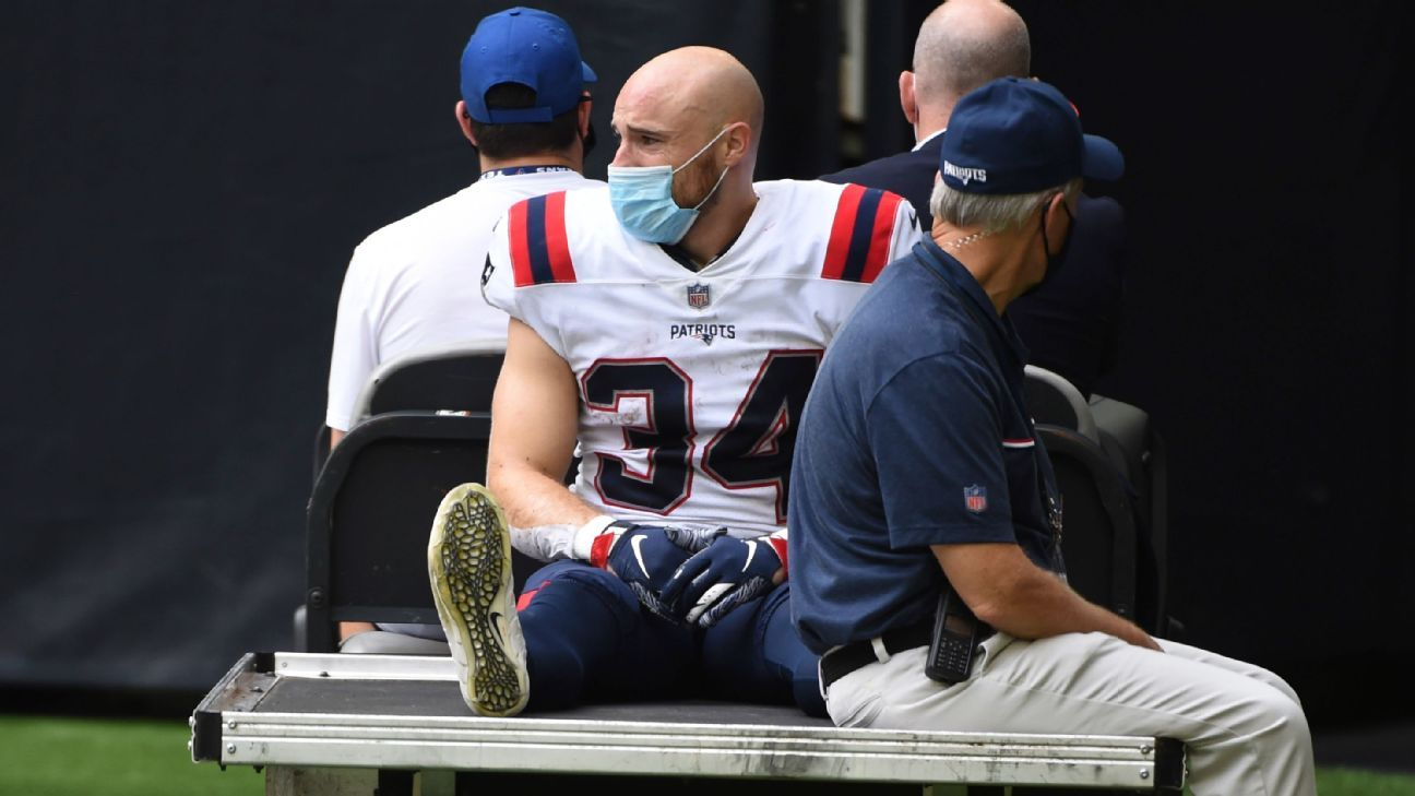 RB Rex Burkhead exits this game as the Patriots lose to the Texans