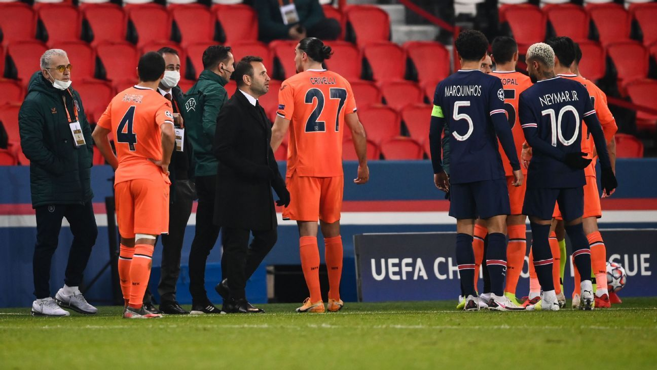 PSG y Istanbul se retiraron por un insulto racista del cuarto árbitro; el partido se juega el miércoles