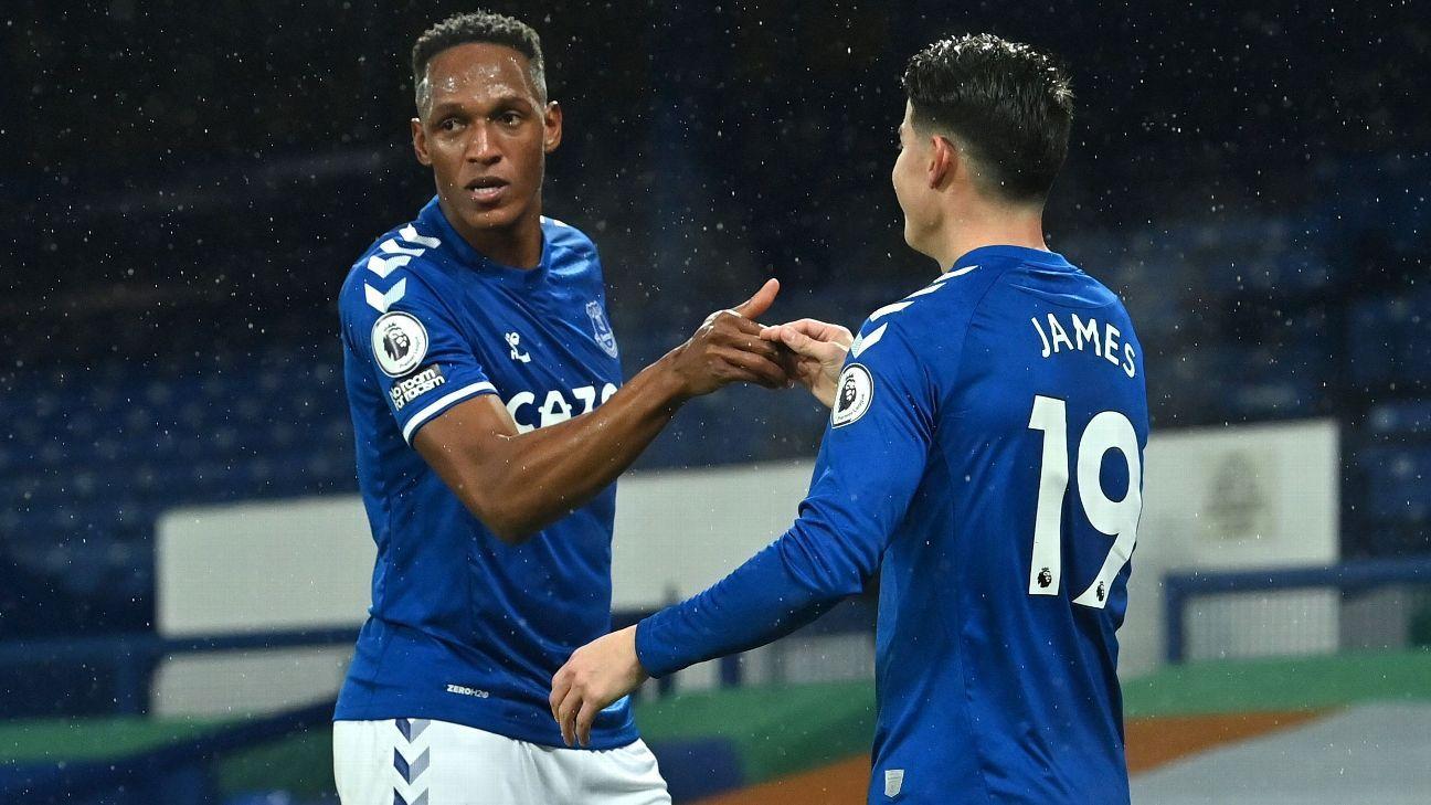 Yerry Mina se destacó en la defensa, en un partido que Everton sufrió ante Leicester