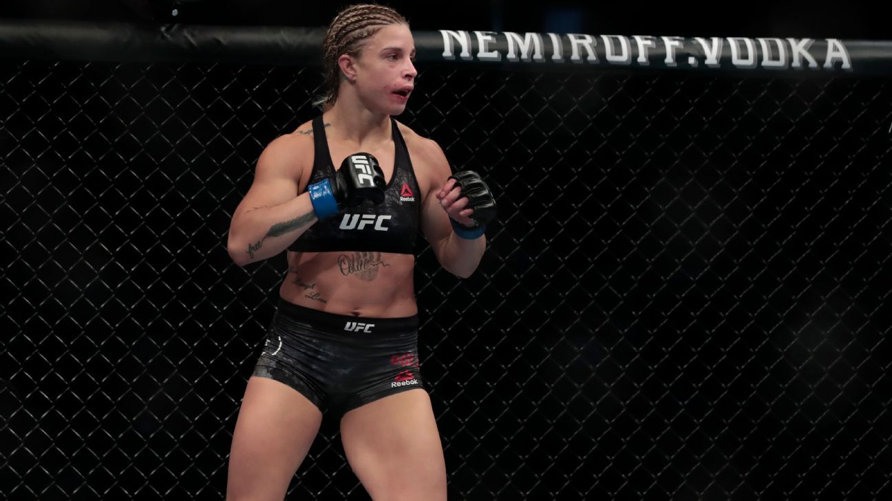 Had to sneak in a picture of the next UFC T-Rex, Hannah Goldy, during her bout against Miranda Granger | UFC on ESPN 27