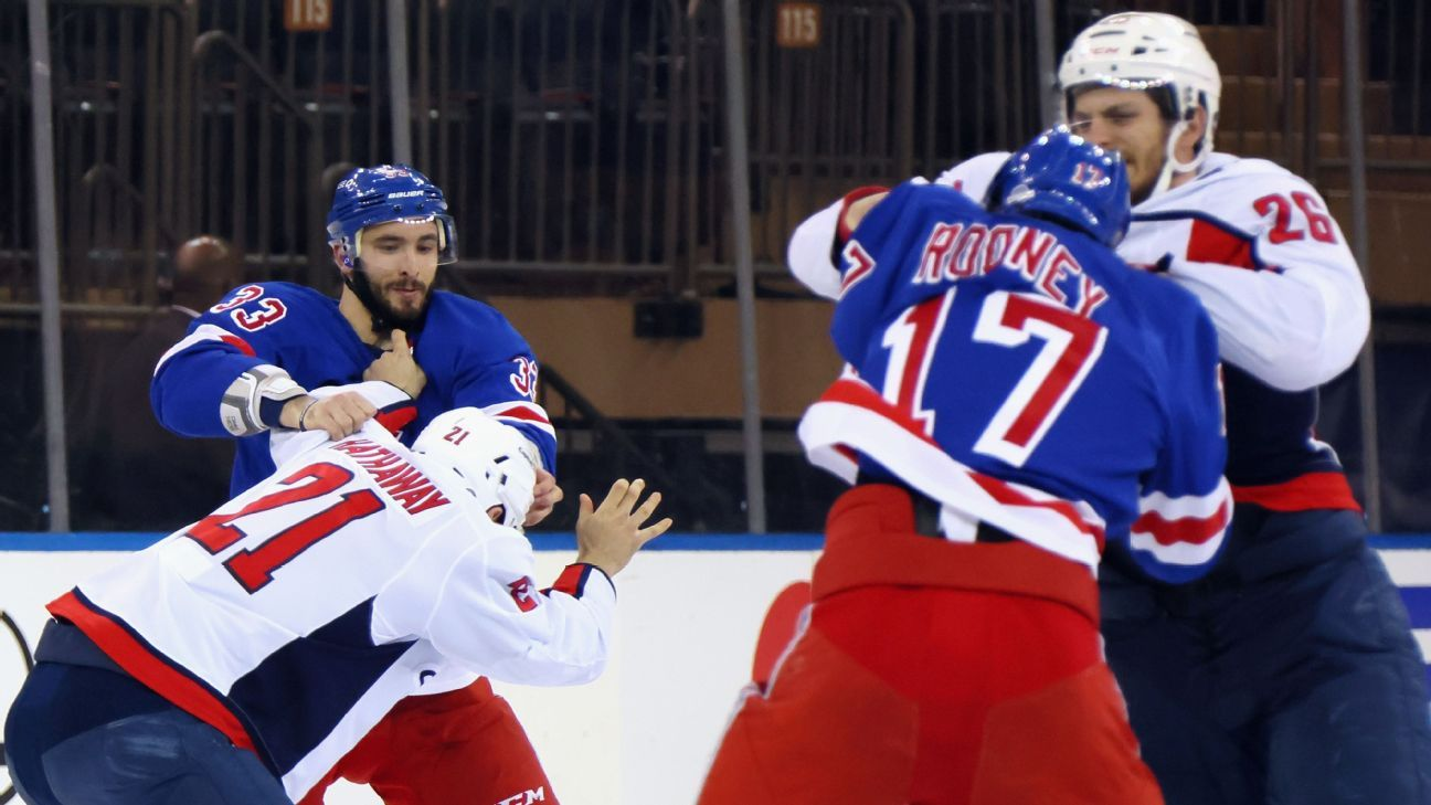 New York Rangers, Washington Capitals square off with six fights in first period as Tom Wilson controversy carries over