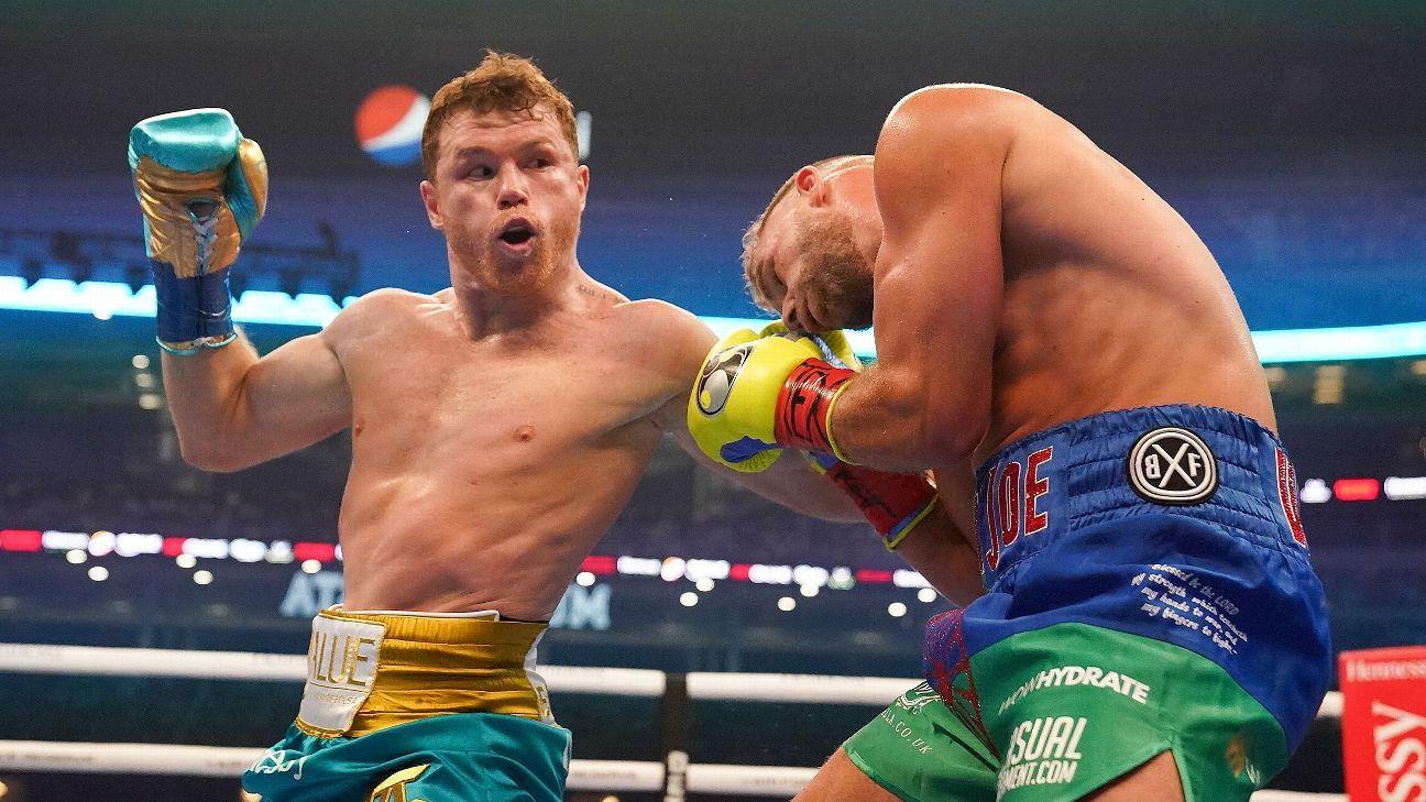 Canelo Alvarez wins unification bout vs. Billy Joe Saunders via TKO in front of record crowd – ESPN