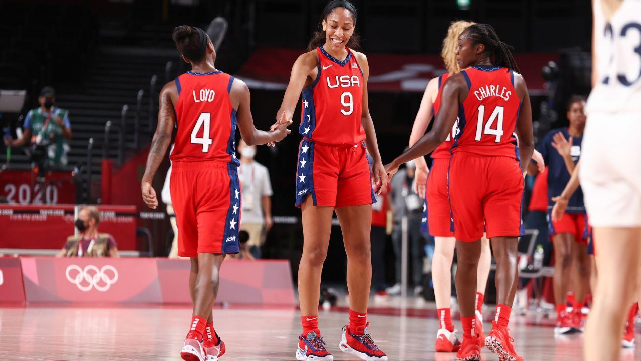 U.S. women tested but reach basketball quarters