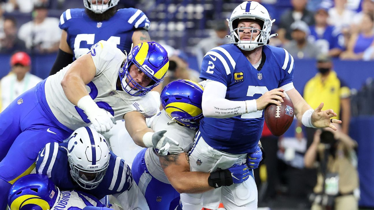 Indianapolis Colts QB Carson Wentz has sprains to both his ankles, Frank Reich says