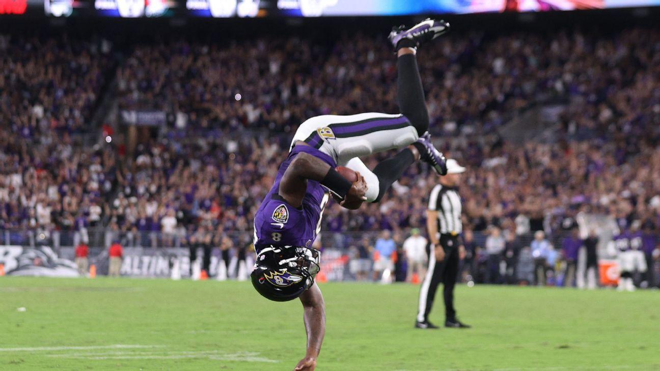 Baltimore Ravens QB Lamar Jackson 'sore' after 'cool' TD flip but would do it again