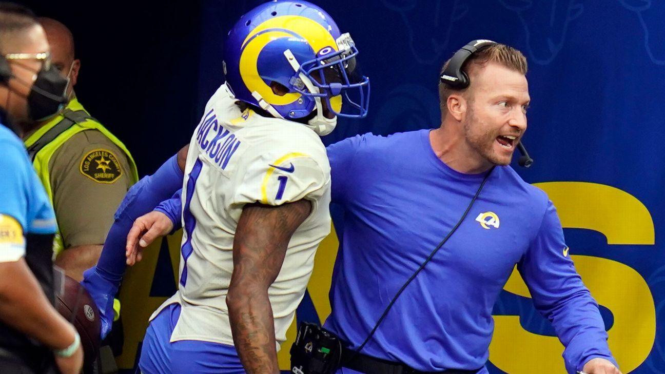 Who had the better sprint on Rams' score: DeSean Jackson or coach Sean McVay?