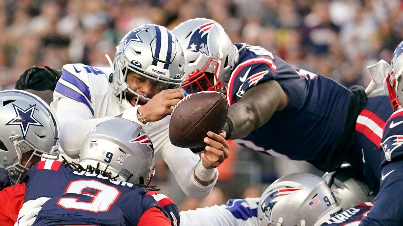 Patriots' Ja'Whaun Bentley swipes ball from Dak Prescott to deny Cowboys