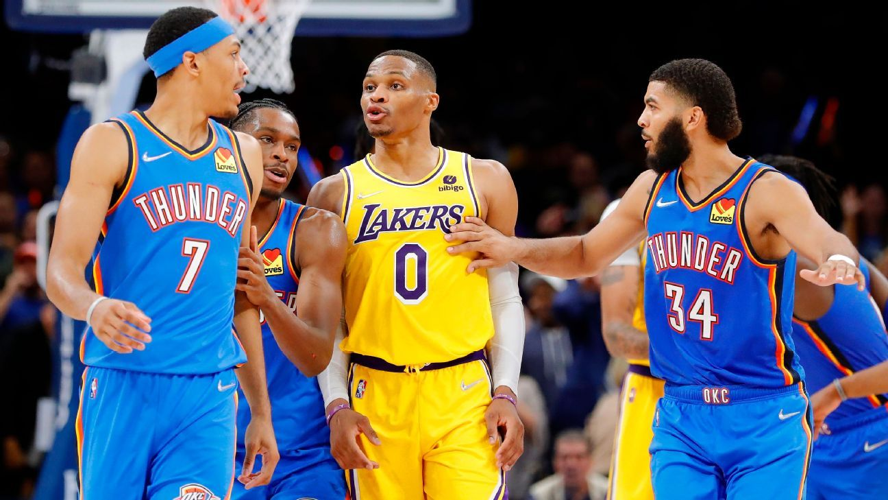 Russell Westbrook ejection caps Los Angeles Lakers' loss to Oklahoma City Thunder after blowing 26-point lead - ESPN