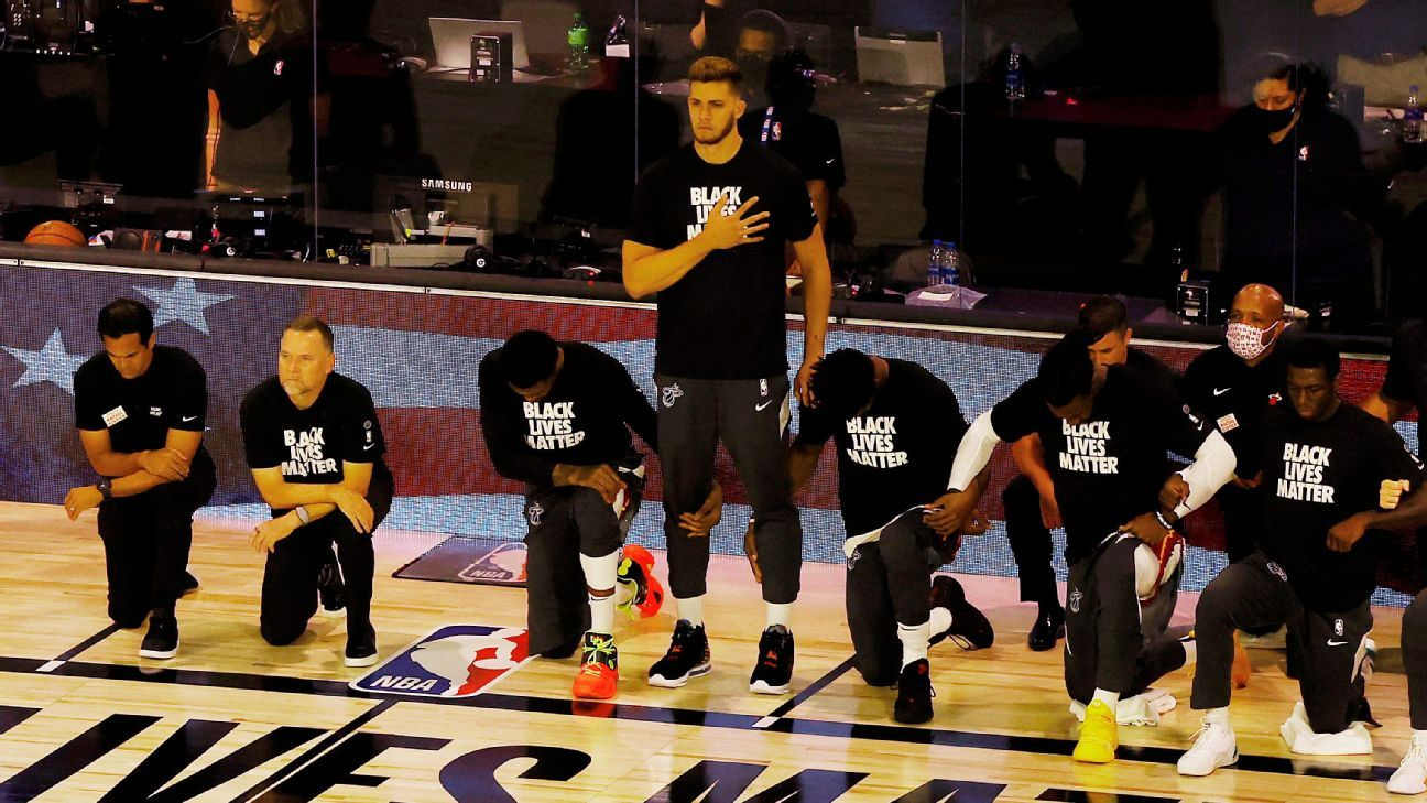 Miami Heat's Meyers Leonard chooses to stand during national anthem